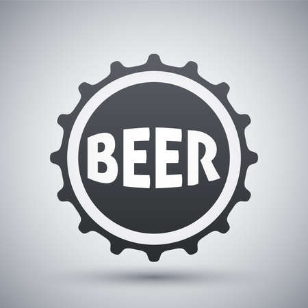 alcohol bottle: Vector beer bottle cap icon