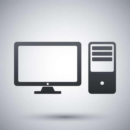 ordinateur de bureau: Vector ordinateur de bureau icône Illustration