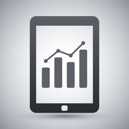 tabletpc: Vector tablet with business chart icon