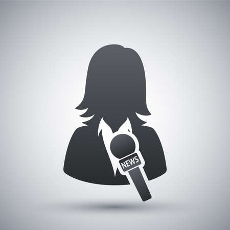 public: News reporter icon, vector