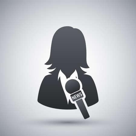 hablar en publico: Noticias icono reportero, vector