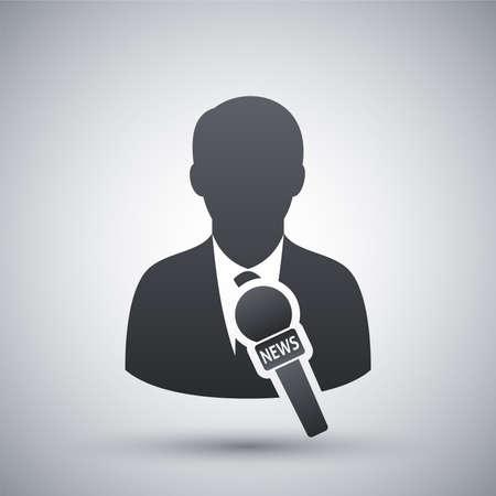 reportero: Vector icono de noticias reportero Vectores