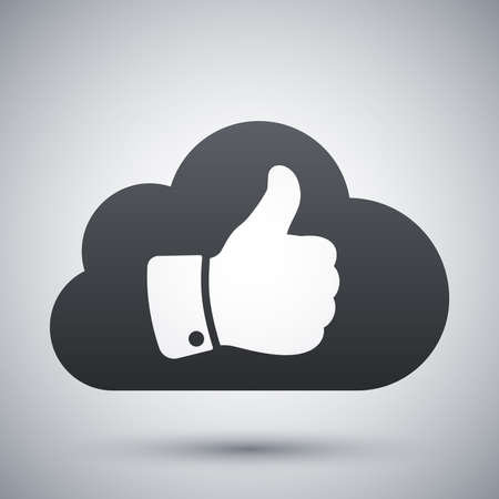 ok sign: Vector cloud with thumb up icon