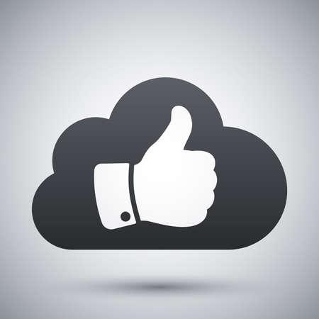 protected database: Vector nube con pulgar hasta el icono Vectores