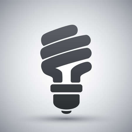 light green: Vector energy saving fluorescent light bulb icon Illustration
