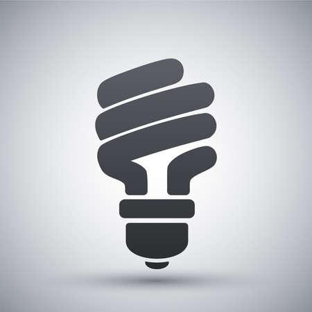 eficiencia energetica: Vector icono de ahorro de energía bombilla fluorescente