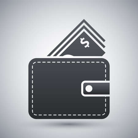 bolsa dinero: Vector billetera con dinero en efectivo icono