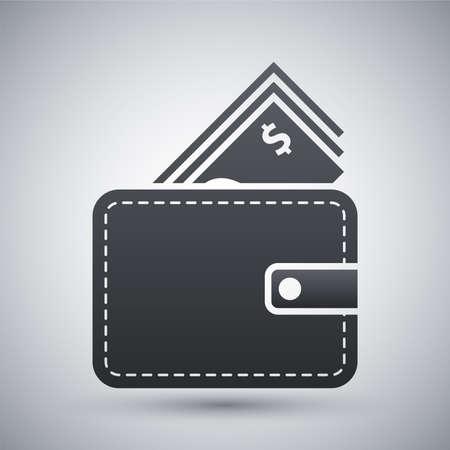 dollaro: Vector portafoglio con l'icona di cassa