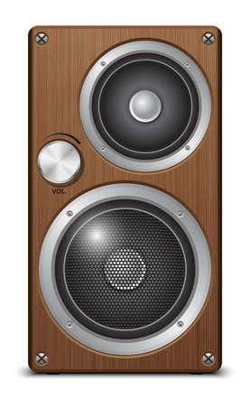 Wooden two way audio speaker, vector Illustration