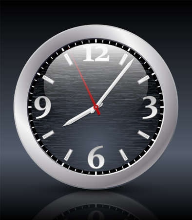 hour glass figure: Analog clock icon on the dark background. Vector