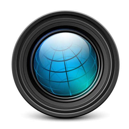 shutter aperture: Photo camera lens with earth globe inside Illustration