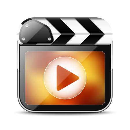 filming: Clap board icon with play sign, vector