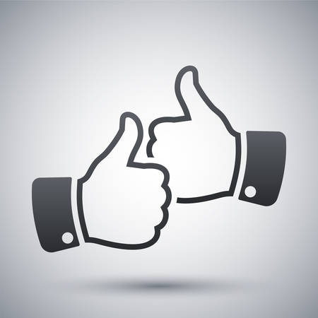 up: Hands with thumbs up icon, vector Illustration