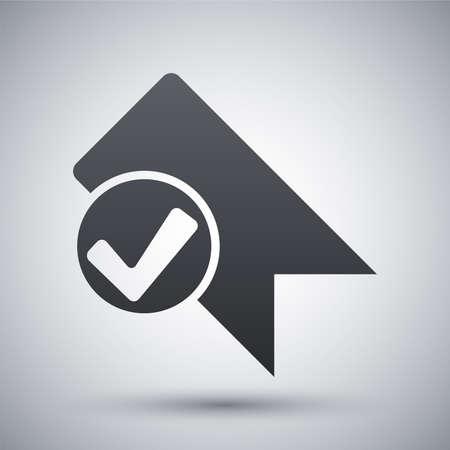 Vector bookmark icon with check mark glyph Vector