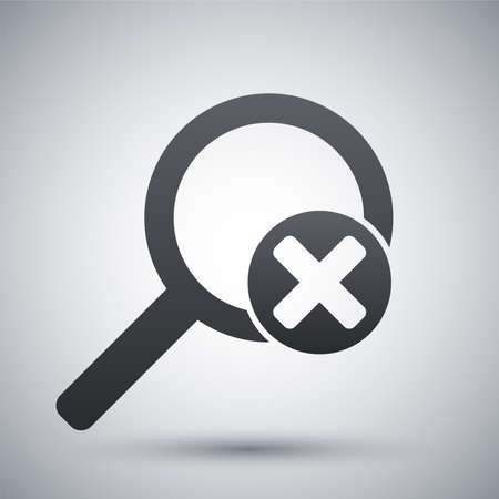 delete: Vector magnifier icon with delete sign Illustration