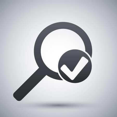 チェック マーク アイコンのベクトル拡大鏡の記号