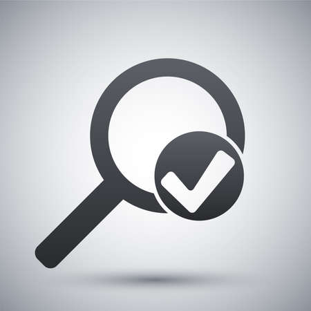 magnify glass: Vector magnifier sign with check mark icon