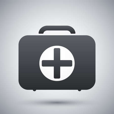 red cross: Vector first aid box icon