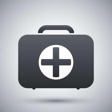 cruz roja: Vector icono de la caja de primeros auxilios