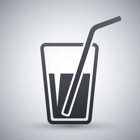 drinking straw: Vector glass with drinking straw icon