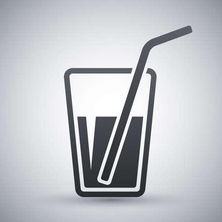 drinking straw: Vetro di vettore con l'icona cannuccia Vettoriali