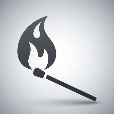 candle flame: Vector burning match icon