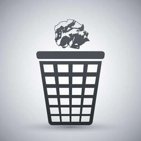 cesto basura: Vector icono de papelera con el papel arrugado Vectores