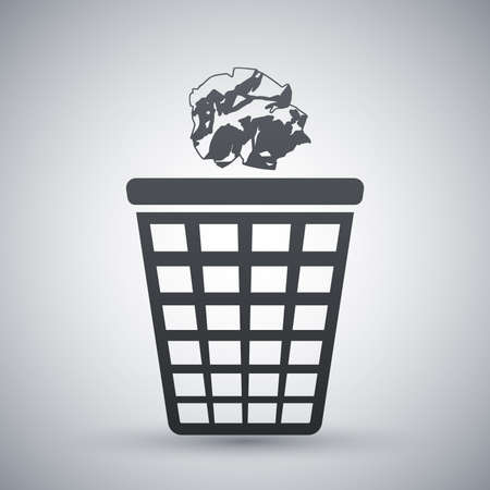 crumpled: Vector trash basket icon with crumpled paper