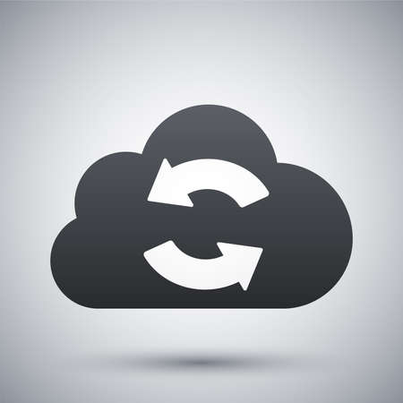 in sync: Vector cloud sync icon