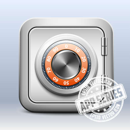 combination safe: Metal safe icon with combination lock on white background, app series
