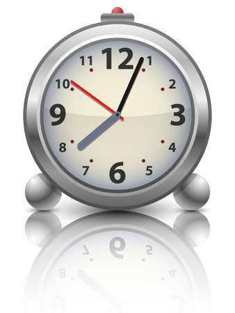 dia y la noche: Reloj despertador analógico tiempo viejo, ilustración vectorial