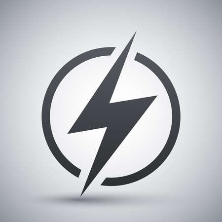 electric shock: Icono de rayo, vector Vectores