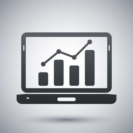 Vector laptop icon with business graph on the screen