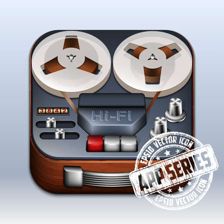 bass player: Reel to Reel Tape Recorder Icon. App Series Illustration
