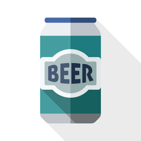 beerhouse: Beer can icon with long shadow on white background