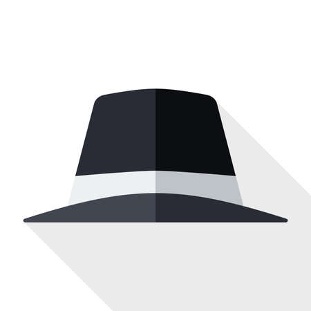 black hat: Icono de sombrero negro con una larga sombra sobre fondo blanco