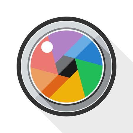 cinematographer: Camera lens icon with long shadow on white background Illustration