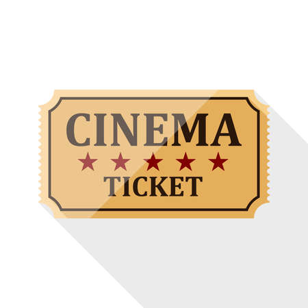 cinema ticket: Cinema ticket icon with long shadow on white background Illustration