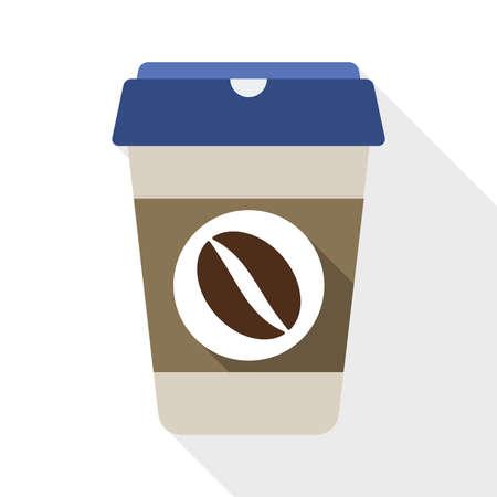 コーヒーカップ: 白い背景上の長い影が付いたコーヒー カップ フラット アイコン  イラスト・ベクター素材