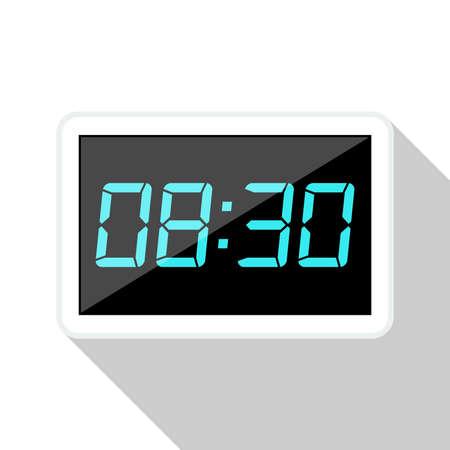 digital clock: Digital clock flat icon with long shadow on white background Illustration