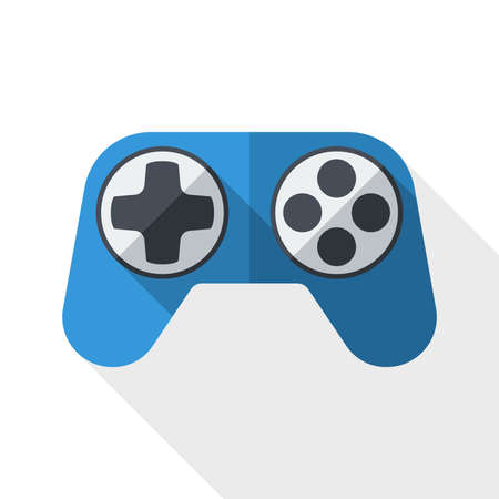 gamepad: Gamepad icon with long shadow on white background Illustration
