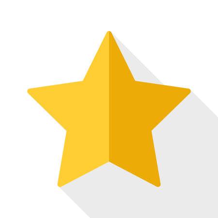 etoile or: Or ic�ne d'�toile avec une longue ombre sur fond blanc Illustration