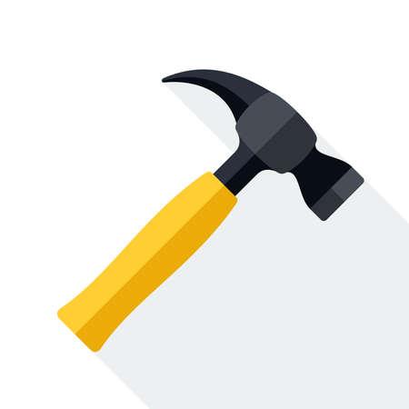 Hamer icoon met lange schaduw op witte achtergrond