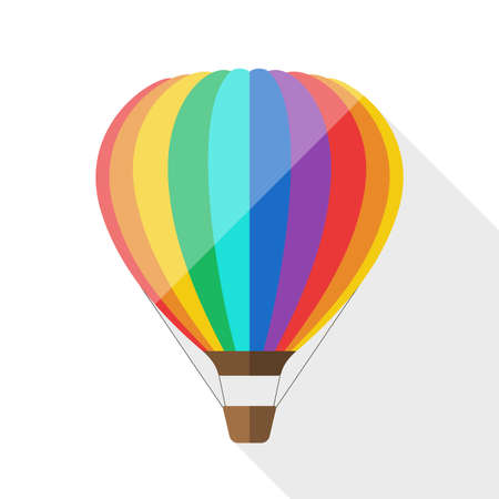 air balloon: Hot air balloon icon with long shadow on white background