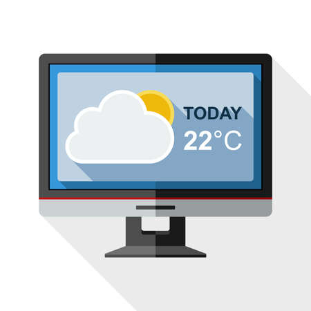 nebulosity: Icon of monitor with weather widget on the screen with long shadow on white background
