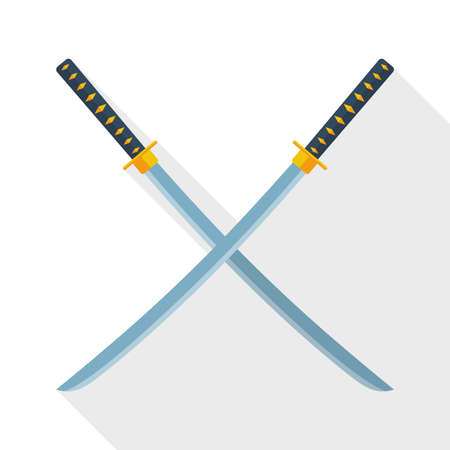 ninja ancient: Katana swords icon with long shadow on white background Illustration