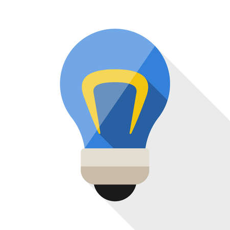 Light bulb flat icon with long shadow on white background