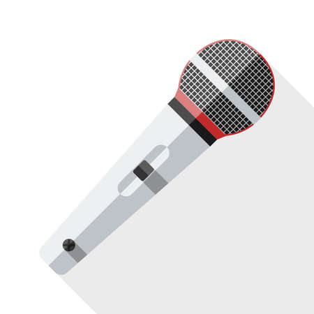 scenical: Microphone flat icon with long shadow on white background
