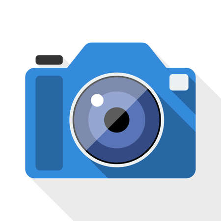 cinematographer: Photo camera flat icon with long shadow on white background Illustration