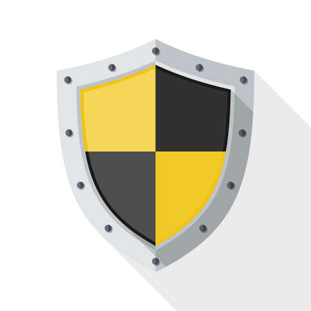 protection icon: Protection icon with long shadow on white background